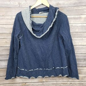 Dylan True Grit Blue Gray Cowl Neck Sweater Medium